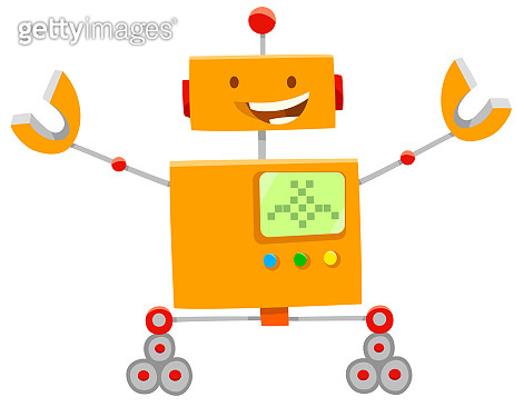 happy orange robot cartoon character