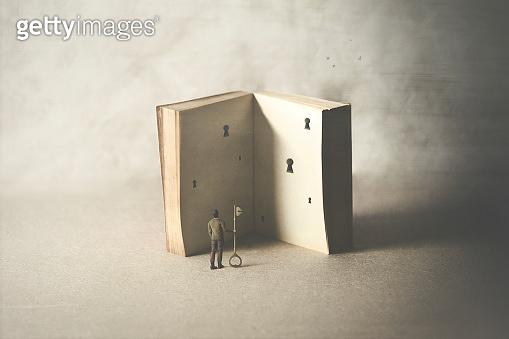 different ways of interpreting a book, surreal concept