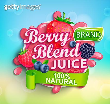 Fresh berry blend juice splash with berries.