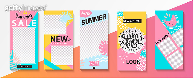 Set ot summer insta templates for stories and news