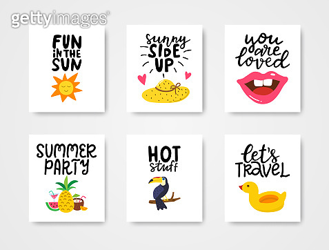 Summer cards set. Colorful posters with hand lettering. Summer vacation banners with hand drawn sun, hat, lips, tropical fruit, toucan, duck. Vector illustration