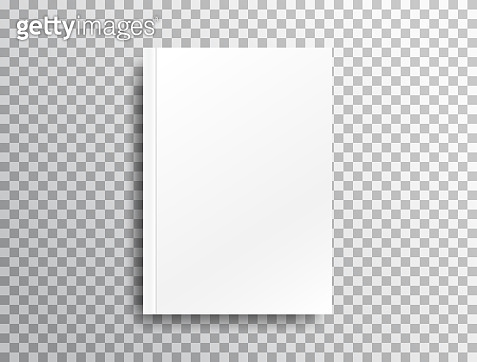 Blank mockup with shadow on transparent background. White realistic brochure A4 for presentation. Notebook with place for text. Closed vertical book, magazine mockup with top view. Vector illustration