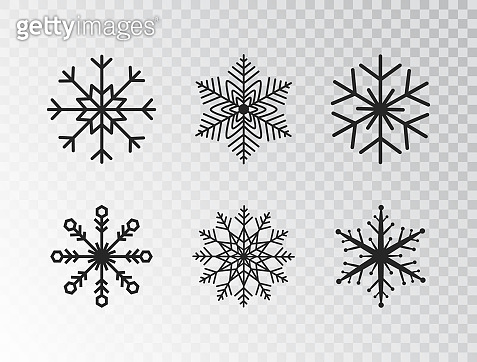 Snowflakes collection isolated on transparent background. Black snowflake icon. Winter design element for Christmas banner, cards, posters, t-shirt. Vector illustration