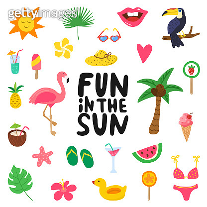 Fun in the sun hand drawn quote with summer elements. Summer design with doodle flamingo, flowers, tropical fruit, sweets. Color set for cards, posters, invitation, stickers. Vector illustration
