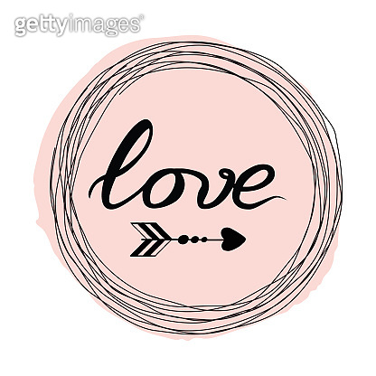 Vector hand drawn Love lettering design element on the pink spot