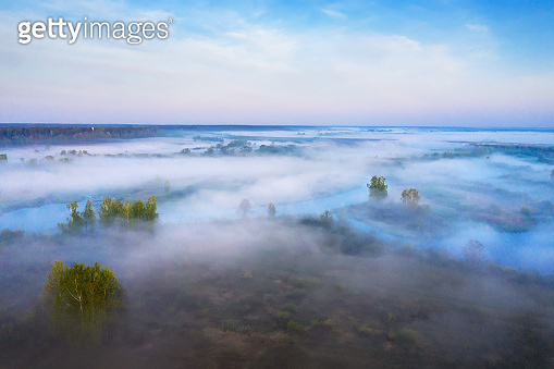 Aerial view foggy morning nature landscape. Fog over summer forest