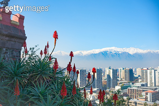 Modern urban skyline of Santiago Chile