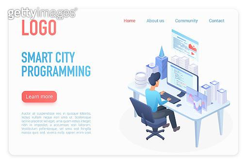 Modern smart city programming management control landing page isometric vector template. Architect builder working at desk, hologram smart city model on desktop. Business strategy. Urban construction website homepage 3D concept.