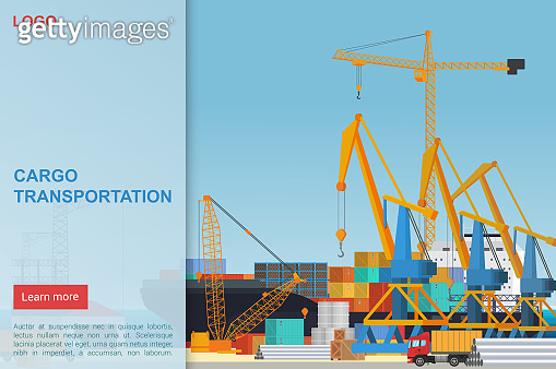Cargo transportation flat vector landing page template. Port dock cranes loading containers with goods. Logistic company delivering merchandise to trade ship. Truck with heavy boxes in seaport