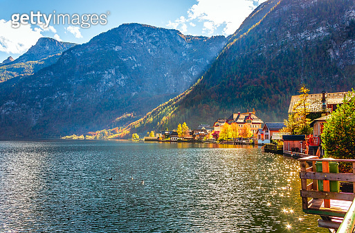 Famous Austrian scenic view of Hallstatter lake and village in the Austrian Alps
