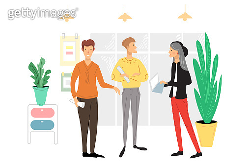 Office people scene. Men and women taking part in business meeting, negotiation, brainstorming, talking to each other cartoon vector illustration.