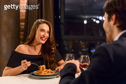 Romantic date in restaurant