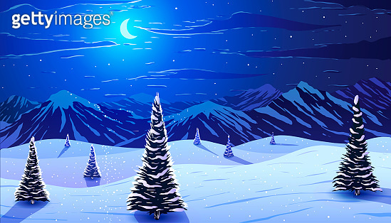 Winter landscape. Pine trees in snow on background of moon and snowy mountains at moonlight night.
