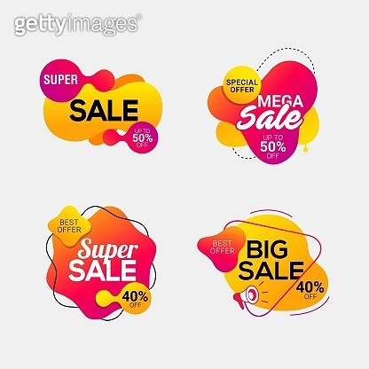 Set of sale badges with liquid color abstract background