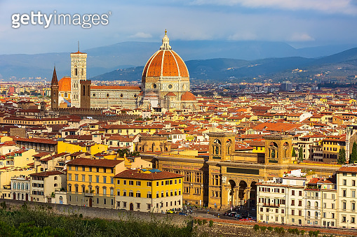 Aerial view of Florence, Italy with Duomo