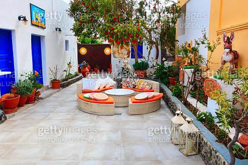 Small cafe in Santorini island in Greece