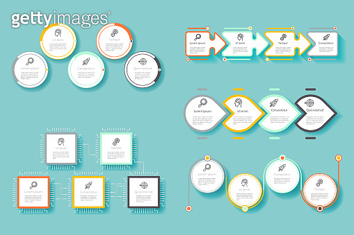 Infographic technology process diagram presentation label options steps icons workflow layout info graph vector illustration