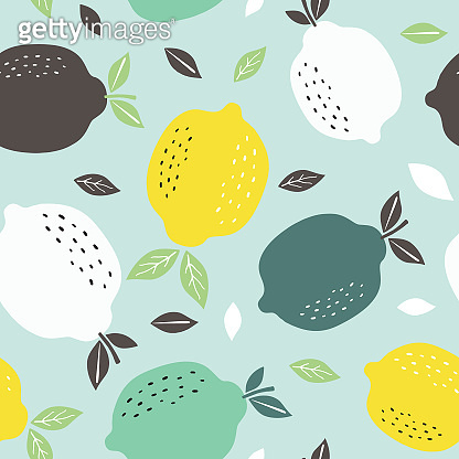 Seamless pattern with citrus fruits collection. Pattern background with lemons. Hand drawn colorful vector wallpaper.