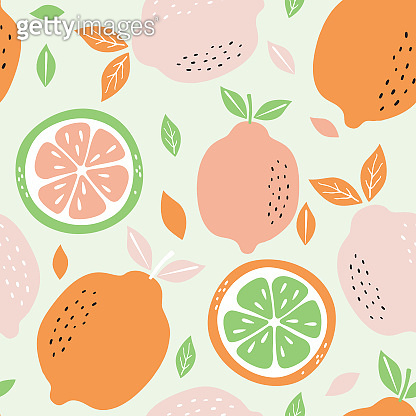 Pattern background with lemons. Seamless pattern with citrus fruits collection. Hand drawn colorful vector wallpaper.