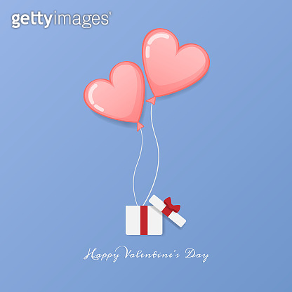 vector of love and Happy Valentines day. open gift box with heart float up to sky with message Happy Valentine's day text. Valentine greeting card