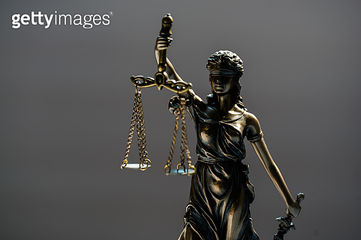 Law and Justice concept image, Gray background