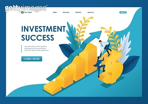 Isometric success of investments, businessmen successfully invest money. Template landing page