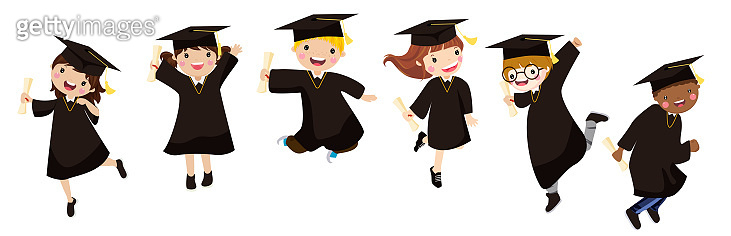 graduating kids jumping