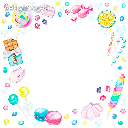 Watercolor frame of candies