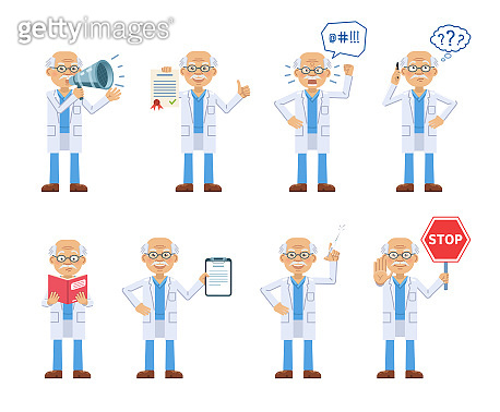 Set of old professor characters posing in different situations. Cheerful doctor talking on phone, thinking, angry, holding loudspeaker, document, book, stop sign, syringe