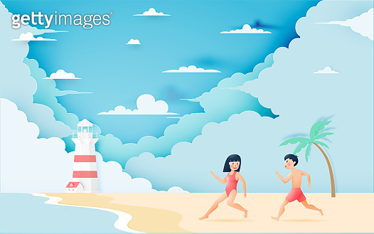 Cute girl and boy with Beautiful beach