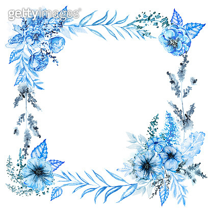 Watercolor square frame with blue flowers