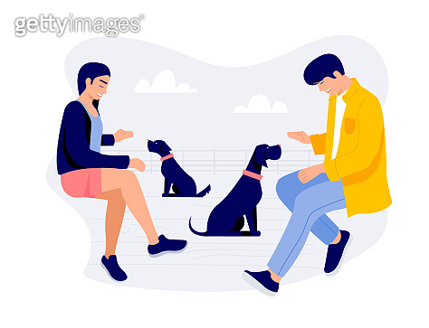 Two young people with dogs Vector illustration