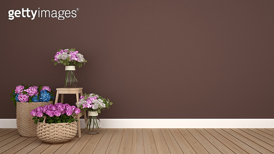 Flower decoration in brown room. Rose and hydrangea flower and brown wall for add message or backdrop of artwork. 3D Illustration