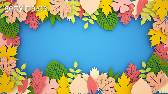 Multi Colored leaves on a blue background for tropical artwork. Colorful Leaves in the forest for the season artwork. 3D Illustration
