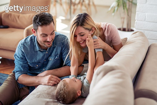 Portrait of happy family  together at home