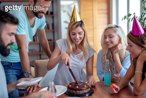 Celebration, food, friends, party and birthday concept