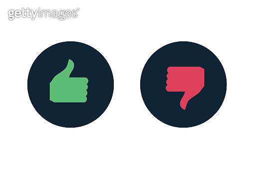 Green and red Like and dislike icon inside  circle.