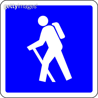 Hiking allowed blue sign
