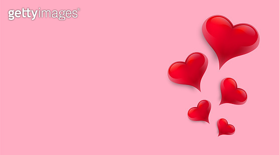 Valentine's Day background with 3d hearts. Vector illustration. Cute love banner or greeting card