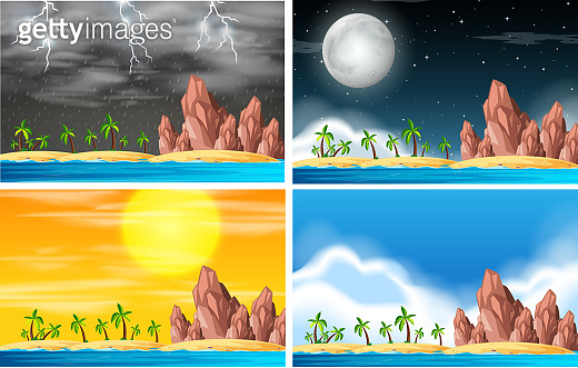 Set of island scene in different weather