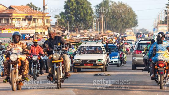 Busy market streets of arfrican town - Porto Novo, Benin
