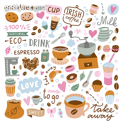 Coffee and sweet desserts cute illustrations on white background. Vector cafe icons and food. Coffee cups and beans