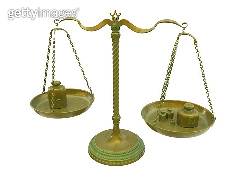Antique gold brass balance scales isolated on white background. 3D Illustration