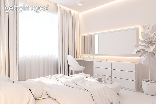 The interior design of the master bedroom in the Scandinavian style. 3d illustration of the interior without texture in white color.