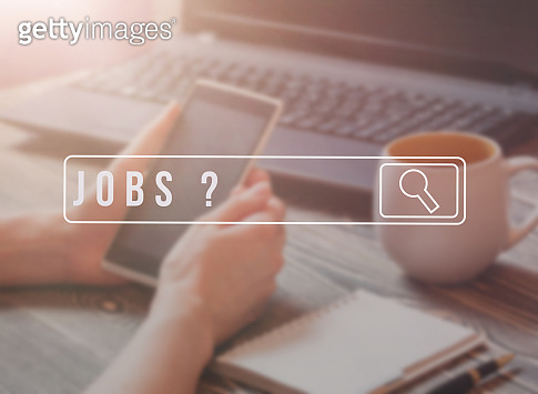 Job Search on mobile smartphone, Human Resources Recruitment Career Concept.