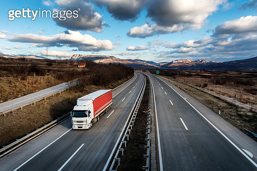 Single lorry truck on country highway