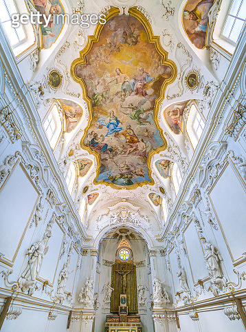 The white Oratory in the Church of the Gesù in Palermo. Sicily, Italy.