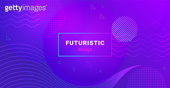 Futuristic minimalist background with waves and dots on gradient blend abstract shapes