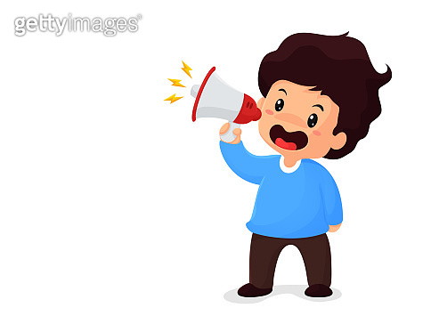 Boy holding a megaphone shouting for sale Concept of promotion of product price reduction