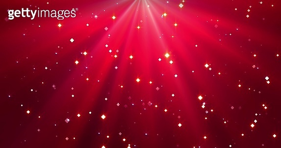 Falling confetti and ray of light on the red Merry Christmas background.
